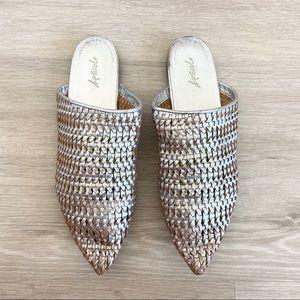 Marsell Metallic Woven Mules Flats Slides Sandal